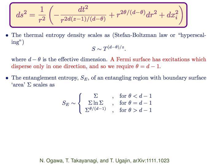 N. Ogawa, T. Takayanagi, and T. Ugajin, arXiv:1111.1023