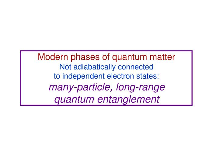 Modern phases of quantum matter