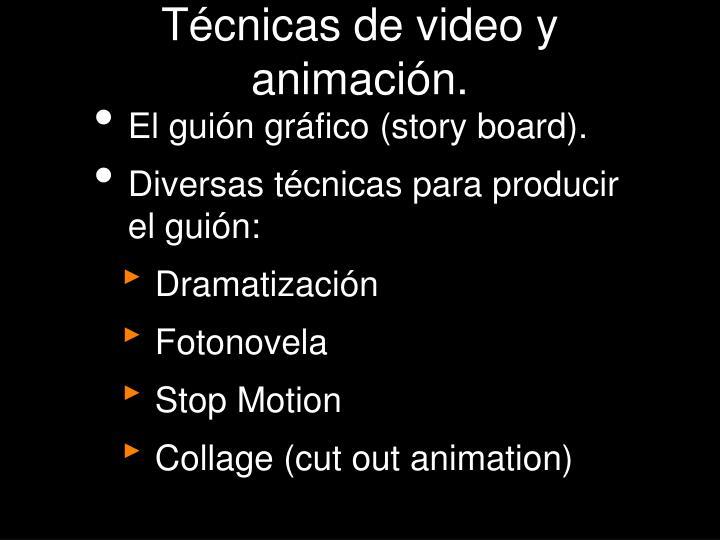 Técnicas de video y animación.