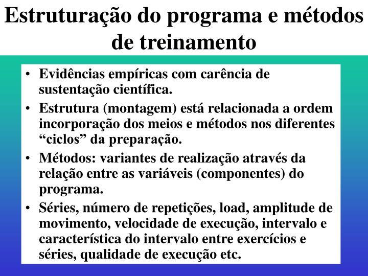 Estruturação do programa e métodos de treinamento