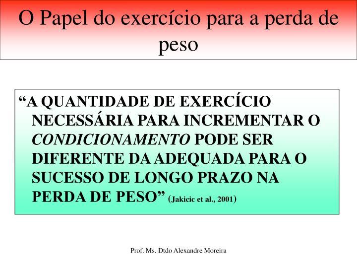 O Papel do exercício para a perda de peso