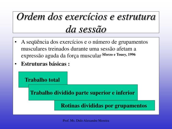 Ordem dos exercícios e estrutura da sessão
