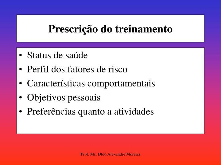 Prescrição do treinamento