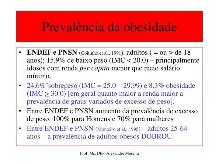 Prevalência da obesidade