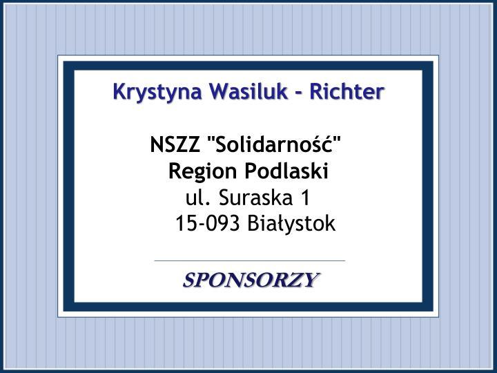 Krystyna Wasiluk - Richter