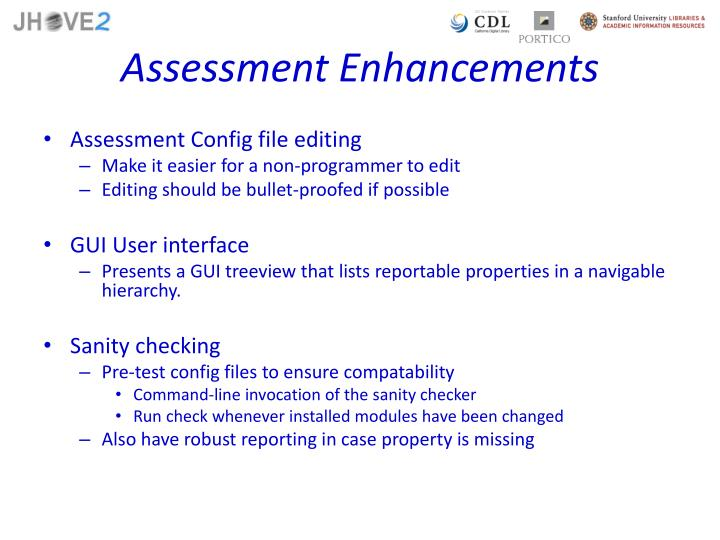 Assessment Enhancements