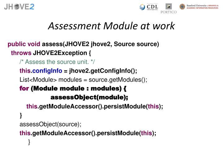 Assessment Module at work