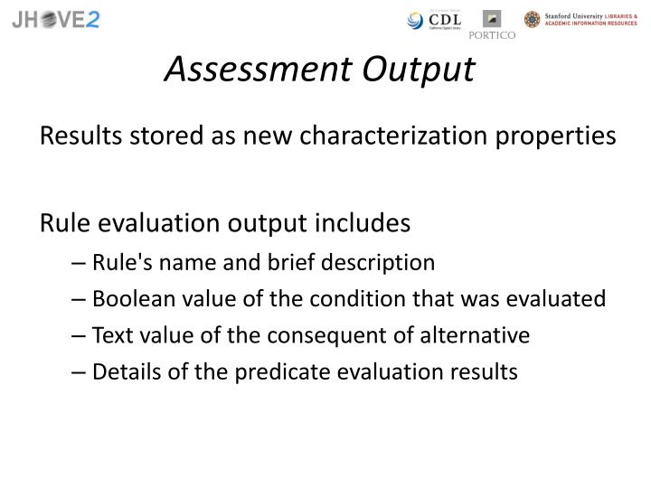 Assessment Output