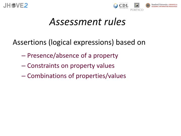 Assessment rules