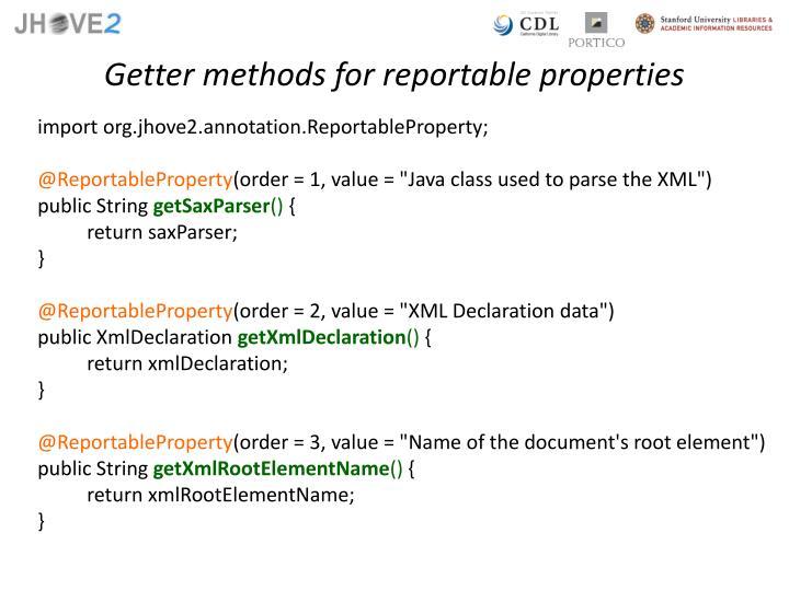 Getter methods for reportable properties