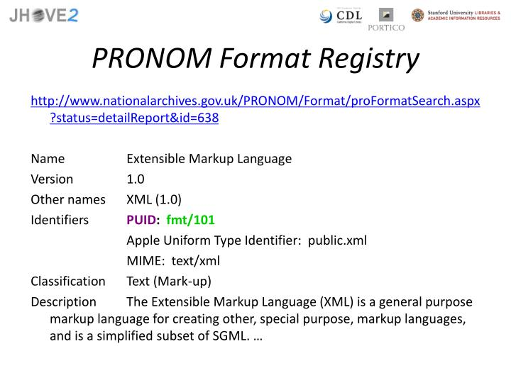 PRONOM Format Registry