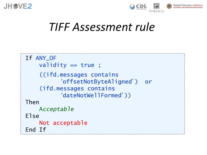 TIFF Assessment rule