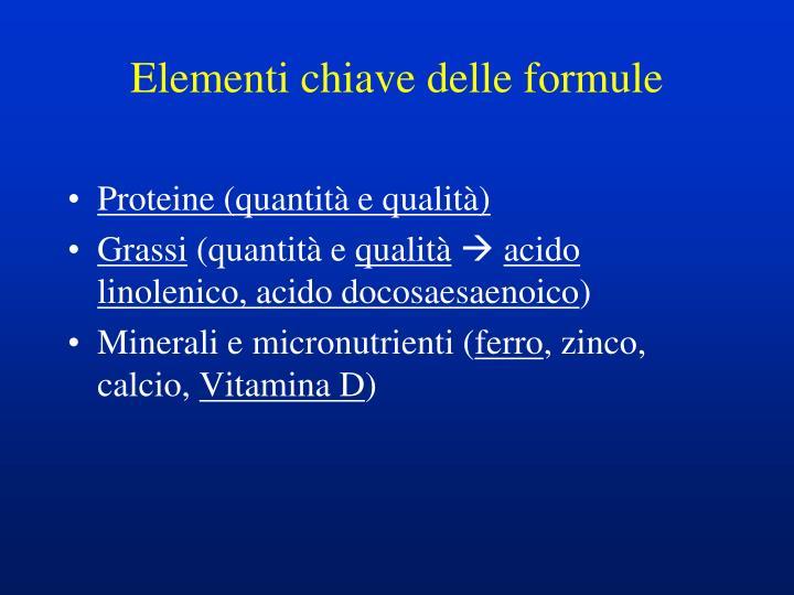 Elementi chiave delle formule