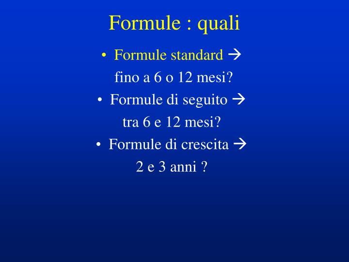 Formule : quali