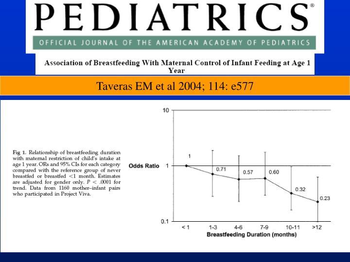 Taveras EM et al 2004; 114: e577