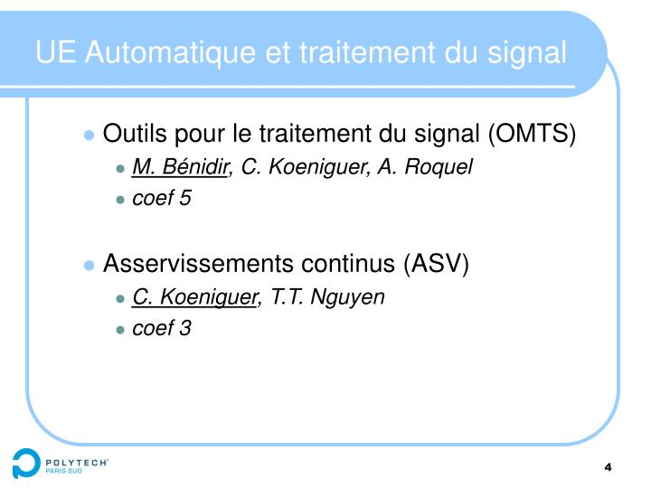 UE Automatique et traitement du signal