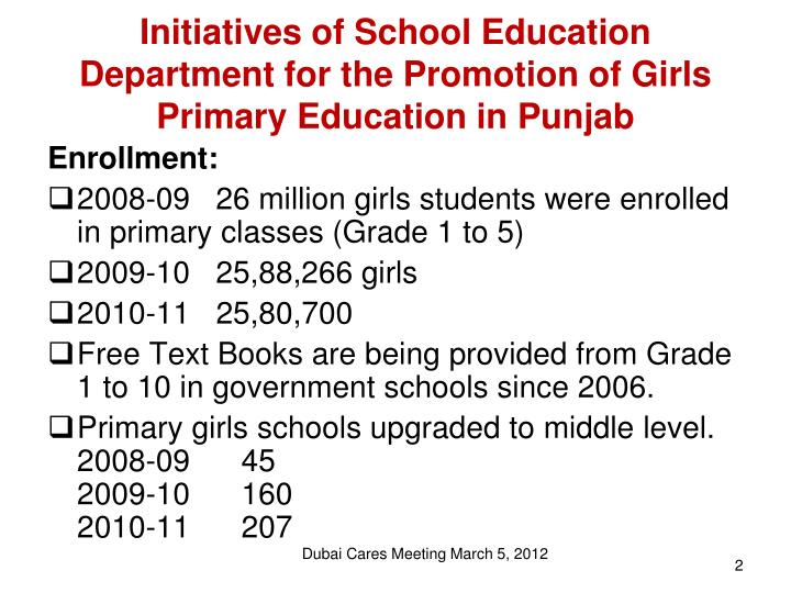 Initiatives of School Education Department for the Promotion of Girls Primary Education in Punjab
