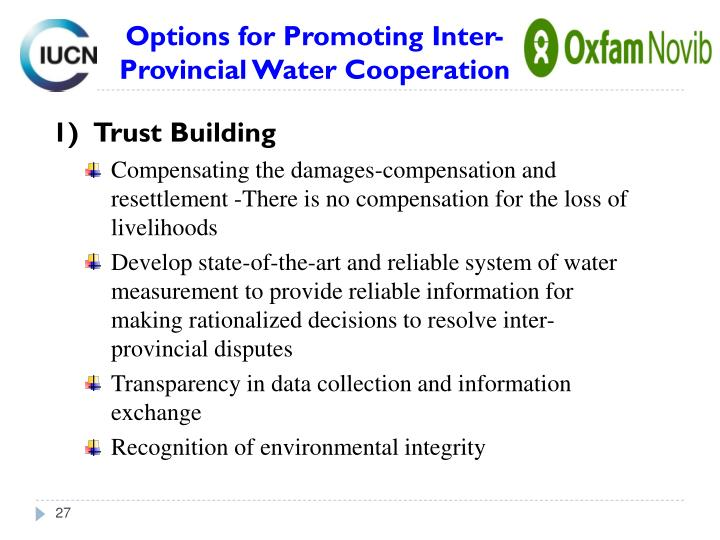 Options for Promoting Inter-Provincial Water Cooperation