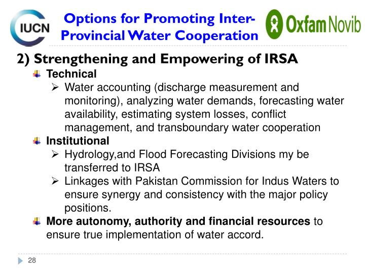 2) Strengthening and Empowering of IRSA