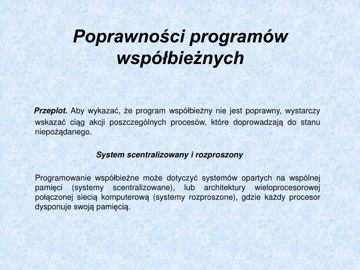 Poprawności programów współbieżnych