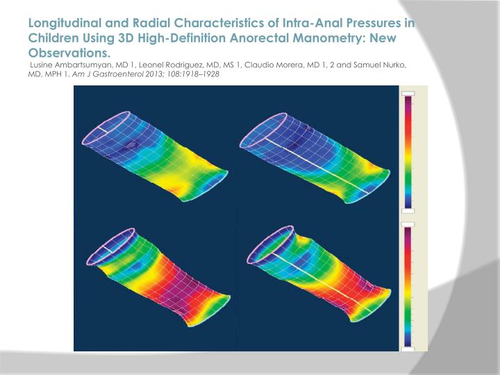 Longitudinal and Radial Characteristics of Intra-Anal Pressures in Children Using 3D High-Definition
