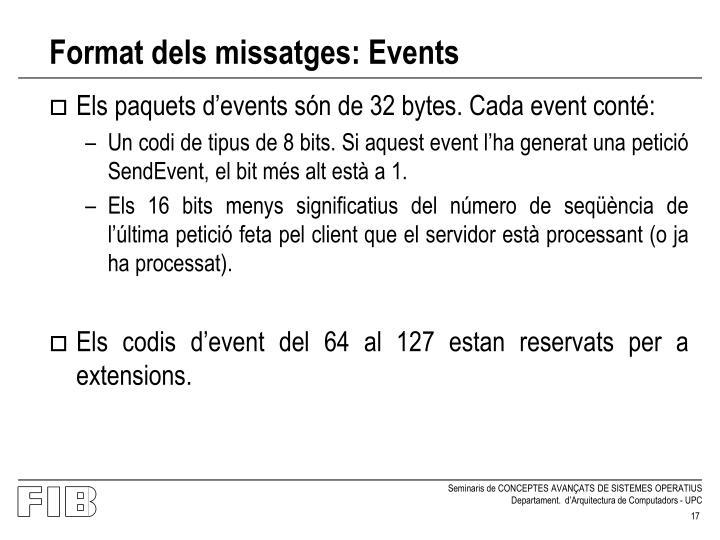 Format dels missatges: Events