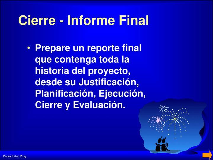Cierre - Informe Final