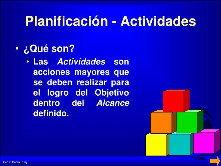 Planificación - Actividades
