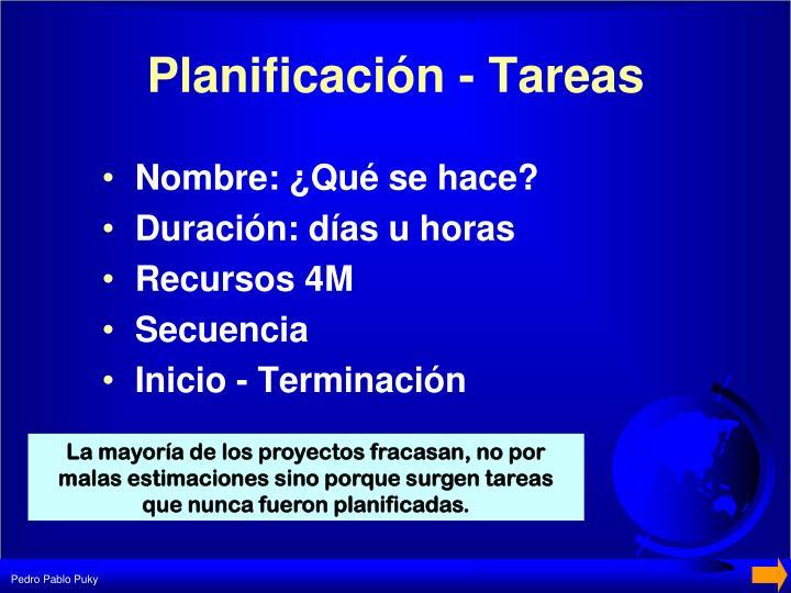Planificación - Tareas