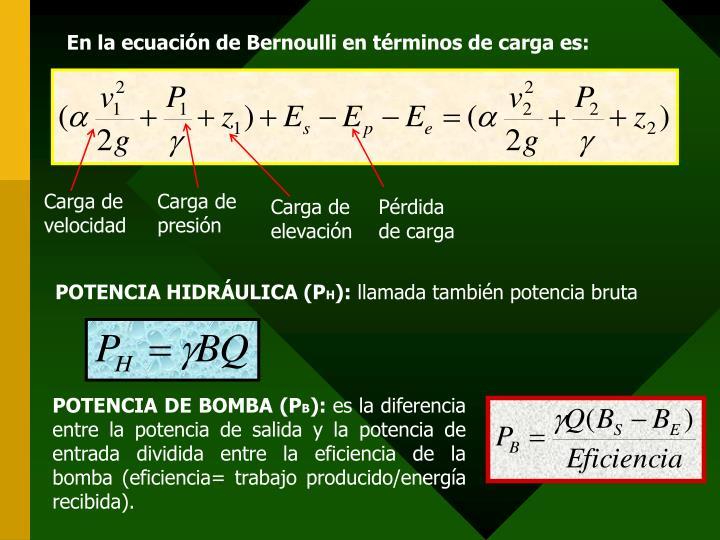 En la ecuación de Bernoulli en términos de carga es: