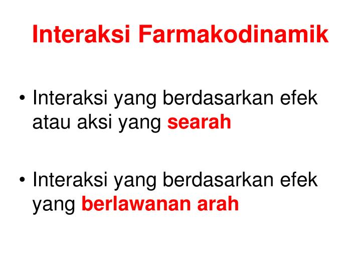 Interaksi Farmakodinamik