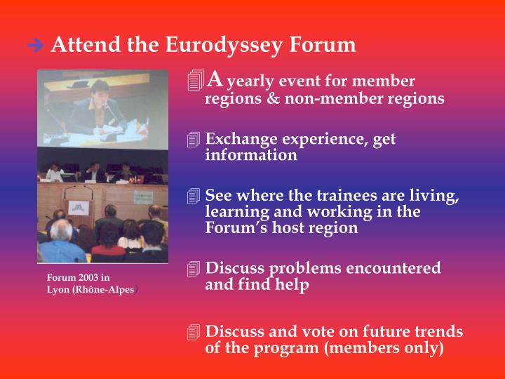 Attend the Eurodyssey Forum