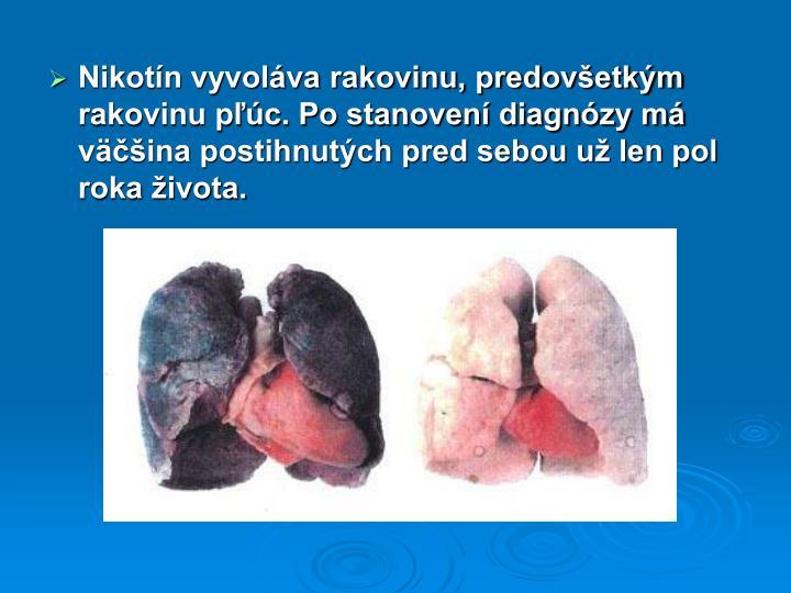 Nikotín vyvoláva rakovinu, predovšetkým rakovinu pľúc. Po stanovení diagnózy má väčšina postihnutých pred sebou už len pol roka života.