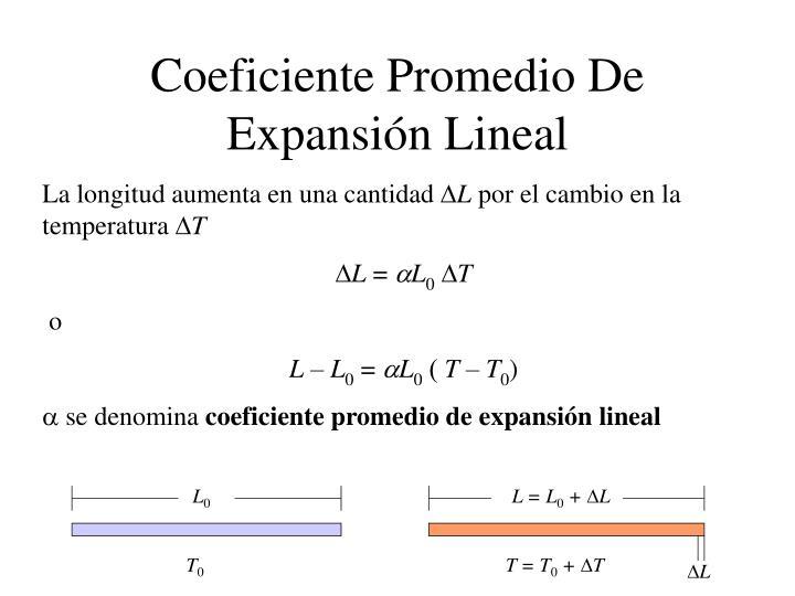 Coeficiente Promedio De Expansión Lineal