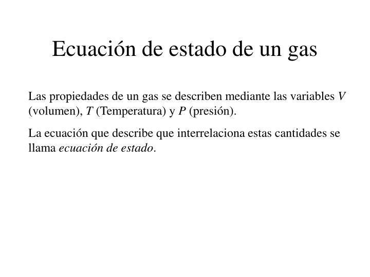 Ecuación de estado de un gas