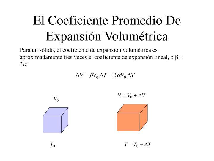 El Coeficiente Promedio De Expansión Volumétrica