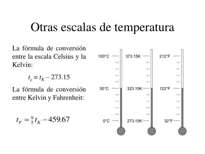 Otras escalas de temperatura