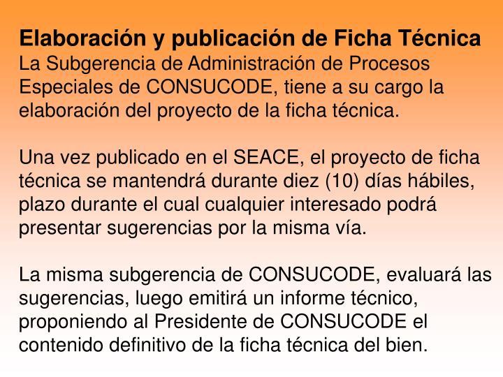 Elaboración y publicación de Ficha Técnica