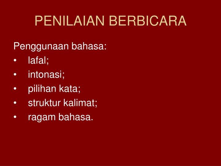 PENILAIAN BERBICARA