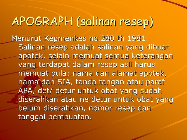 APOGRAPH (salinan resep)
