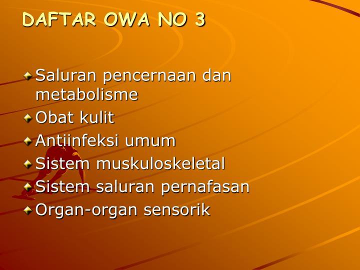 DAFTAR OWA NO 3