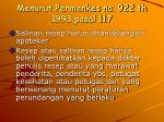 menurut permenkes no 922 th 1993 pasal 117