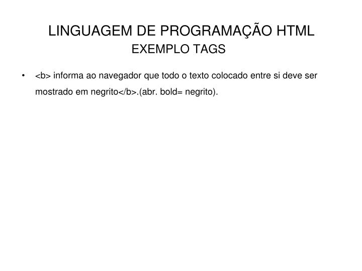 EXEMPLO TAGS