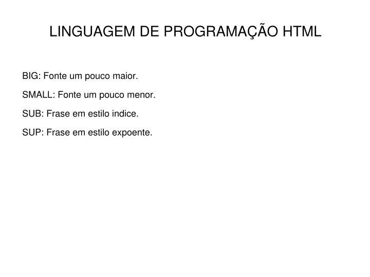 LINGUAGEM DE PROGRAMAÇÃO HTML