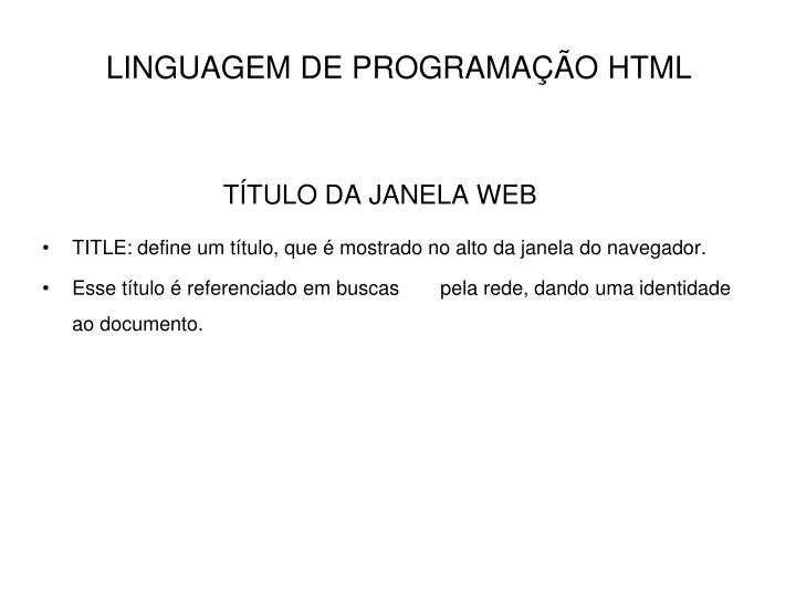 TÍTULO DA JANELA WEB