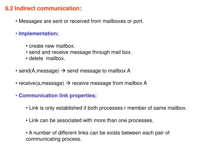 6.2 Indirect communication: