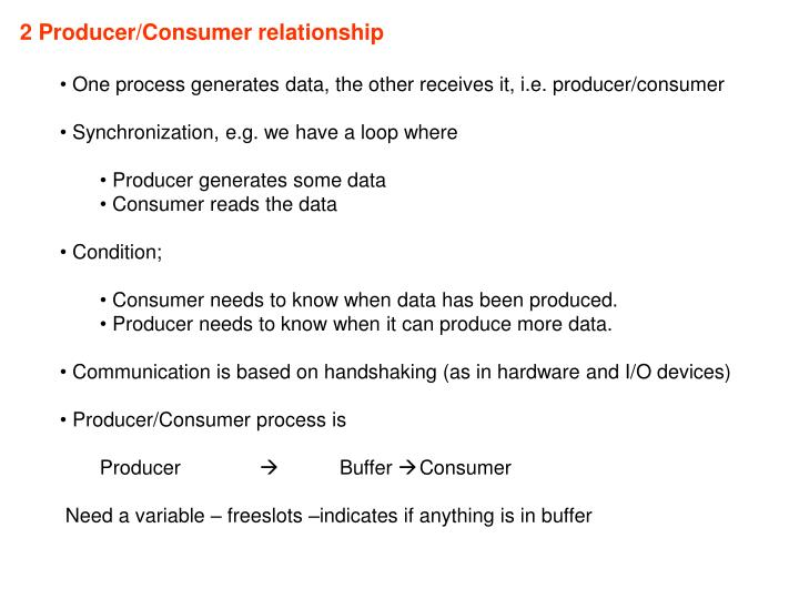 2 Producer/Consumer relationship