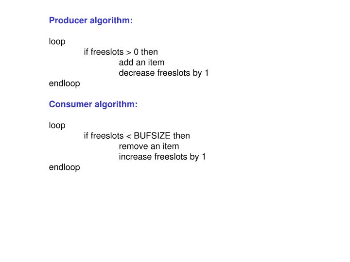Producer algorithm: