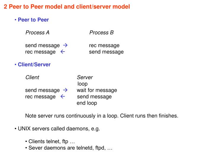 2 Peer to Peer model and client/server model
