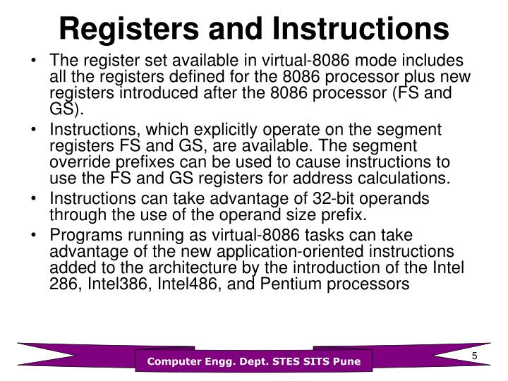 Registers and Instructions